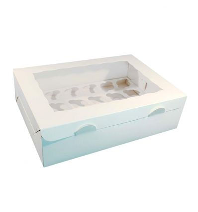 Caja para 24 mini cupcakes con ventana